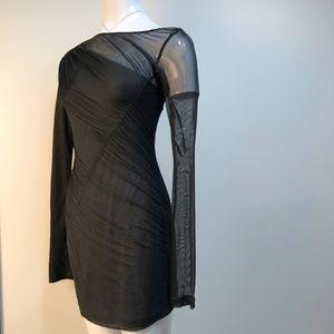Rag & Bone Drape Silk dress with mesh overlay